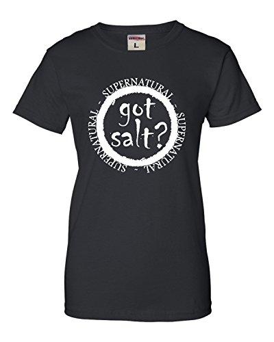 Small Black Womens Got Salt? Supernatural T-Shirt -