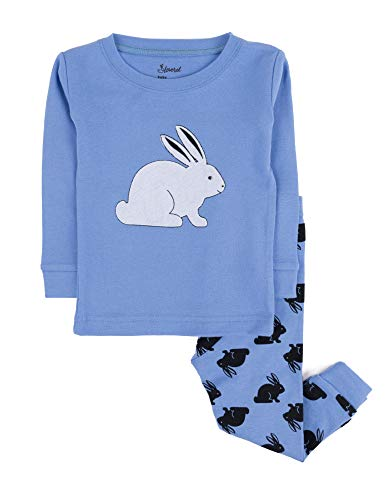 Leveret Kids Pajamas Bunny Rabbit Boys Girls 2 Piece Pajama Set 100% Cotton (Blue,Size 3 -