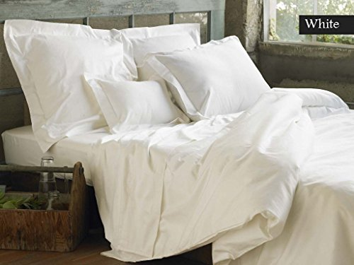 LINEN SOUQ Genuine Premium Organic cotton 800 Thread Count, Made In the USA - Impression Italian Finish WHITE 4-Piece Sheet Set, 19 Inches Deep Pocket, Single Ply, Solid KING ()