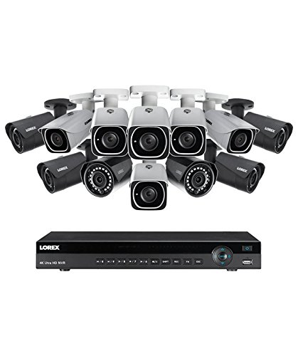 Lorex 16 channel NR9163 4K home security system with 6 8MP 4K LNB8111B Bullet Cameras and 6 4MP 2K LNB4421B Bullet Cameras