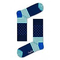 Happy Socks Unisex Stripes and Dots Crew Socks (One Pair) (Blue/Aqua, 10-13)