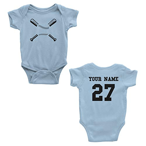 Baseball Custom One Piece Bodysuit for Baby – Personalized Name and Number (12 Months, Light Blue) ()