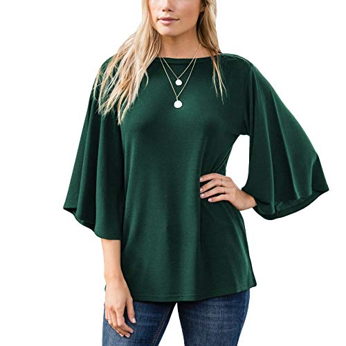 Amaryllis Apparel Women's Boatneck Flutter Bell Sleeve Blouse Top 1