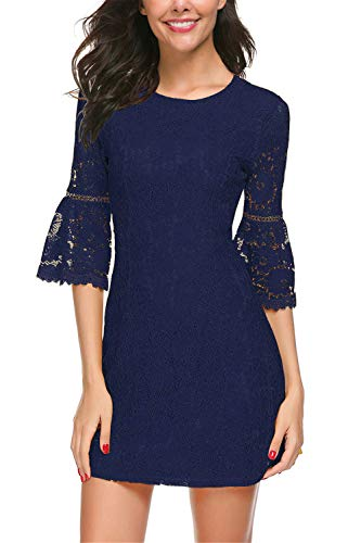 Twinklady Women's 3/4 Bell Sleeve Floral Lace Elegant Cocktail Party A-Line Mini Dress (Navy Blue, S) (Blue Cocktail Navy)