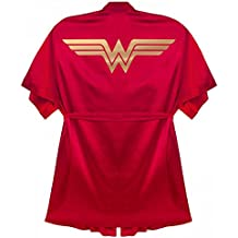 Customized Girl Wonder Woman Bathrobe Gift: Satin Kimono Short Robe
