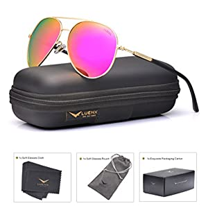 LUENX Aviator Sunglasses for Women Polarized Mirrored Rose Red Lens Gold Metal Frame 60mm