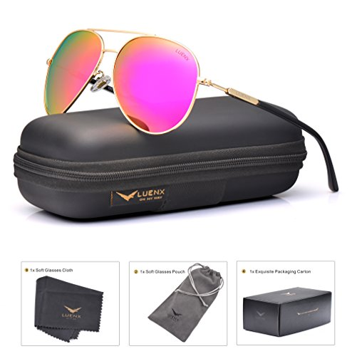 LUENX Aviator Sunglasses for Women Polarized Mirrored Rose Red Lens Gold Metal Frame Large 60mm by LUENX