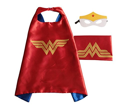 [Rush Dance Deluxe Comics Satin Unisex Super Hero CAPE & Matching MASK (Red & Gold (Wonder Baby))] (Woman Thor Costume)