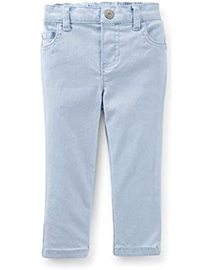 Little Girls 5-Pocket Stretch Twill Pants - 24 M (Baby Blue)