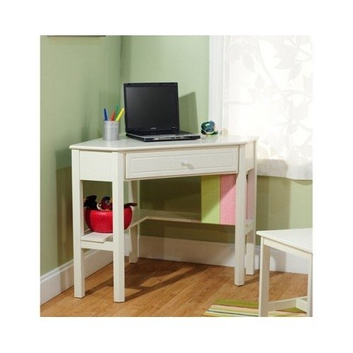 Antique White Wood Corner Space Saving Office Dorm Furniture