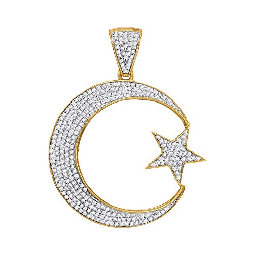 Diamond Mens Star Crescent Charm Pendant 3/4ct 10k Yellow -