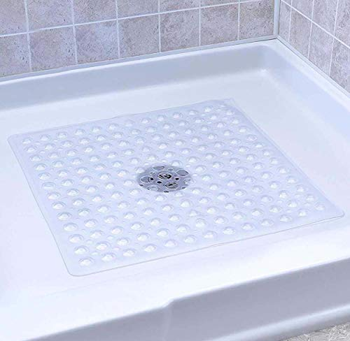 Shower Stall Mat (SUDAGEN Square Shower Mat Non Slip Bath Mat with Drain Hole Anti Bacterial Machine Washable for Shower Stalls 21 x 21 Inch (Transparent Clear))