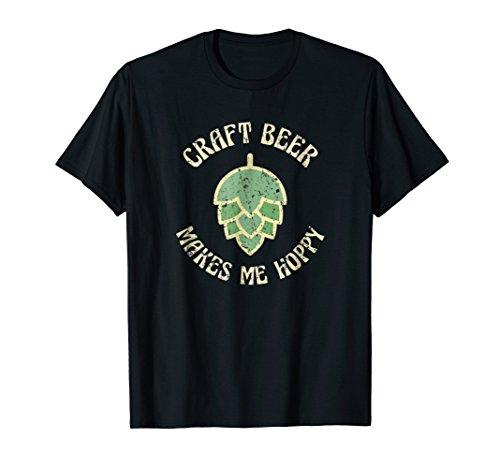 Beer Makes Me Hoppy Shirt Vintage Retro Craft Beer T Shirt (Make Craft Beer)