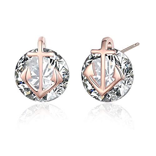 (Rose Gold Plated Cubic Zirconia Small Anchor Women Earrings Studs)