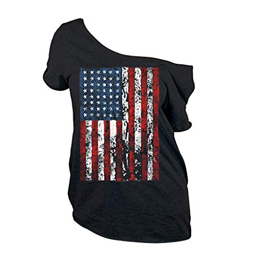 RoDeke Women's Summer Short Sleeve Solid Color T-Shirt American Flag Tank Tops 4Th of July Cold Shoulder Blouses Black