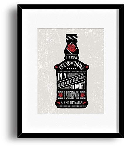 Bed of Roses by Bon Jovi - Song Lyrics Art Print Poster - Music Wall Decor Graphical Illustration (Lyrics Christmas Jovi Bon)