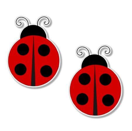 Ladybugs Set of 2 Vinyl Sticker - Car Window Bumper Laptop - SELECT SIZE