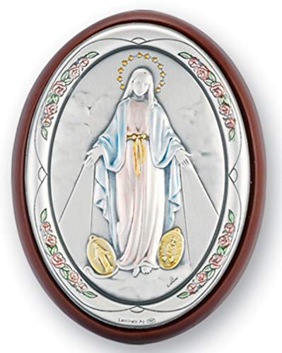 Our Lady of The Miraculous Medal Sterling Silver Plaque on Cherry Wood Backing, 3 ()