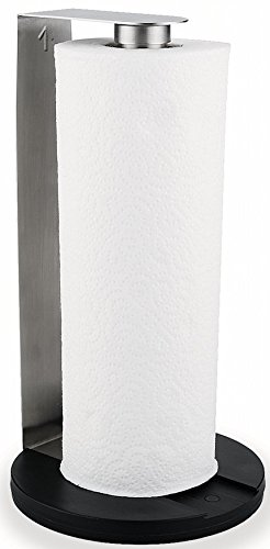 Stainless Steel Paper Towel Holder - Counter Top Vertical Upright - 6.5 x 12.5 inches (Wooden Paper Towel Holder Under Cabinet)