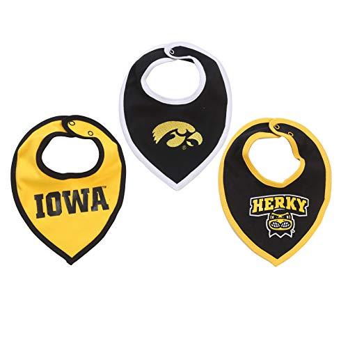 NCAA Iowa Hawkeyes Bib Set (3 Pcs) for Baby Boy or Girl