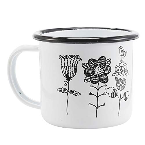(Yanluzz350Ml Enamel Coffee Cup Creative Animal Plant Breakfast Cup Black Curling And Handle Milk Teacup H)