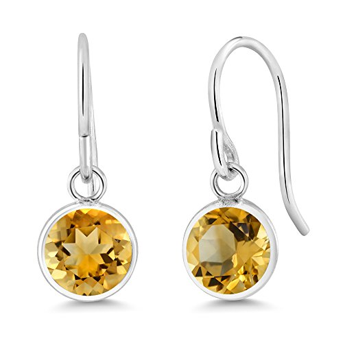 Gem Stone King 1.40 Ct Round Yellow Citrine Sterling Silver bezel Earrings 6mm