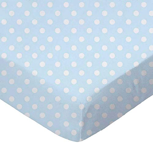 (SheetWorld 100% Cotton Percale Fitted Crib Toddler Sheet 28 x 52, Pastel Blue Polka Dots Woven, Made in USA)