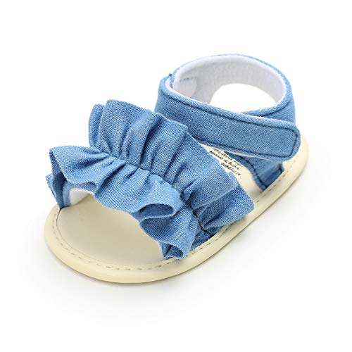 Isbasic Baby Girls Sandals Bohemia Flower Bow Soft Sole Toddler First Walkers Beach Summer Shoes (0-6 Months M US Infant, C-Denim Blue)