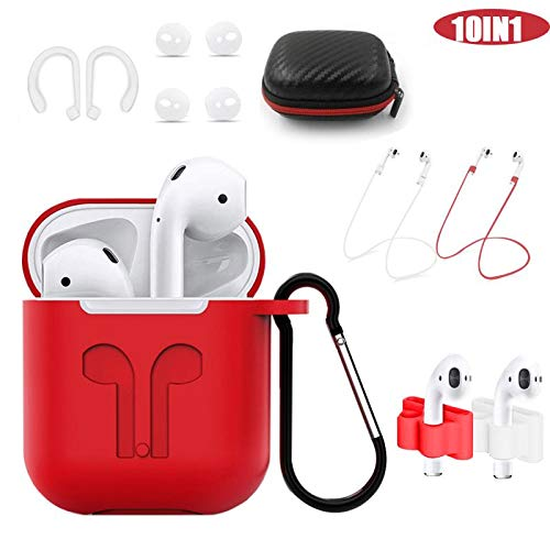 AirPods Case Cover,Woocon Silicone Case Protective 10 in 1 AirPods Accessories Set with,Airpods Silicone Case|Anti-Lost Straps (Red)