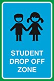 Student Drop Off Zone Print Kids Children Picture Public Notice School Large Sign Aluminum Metal - 2 Pack, 12x18