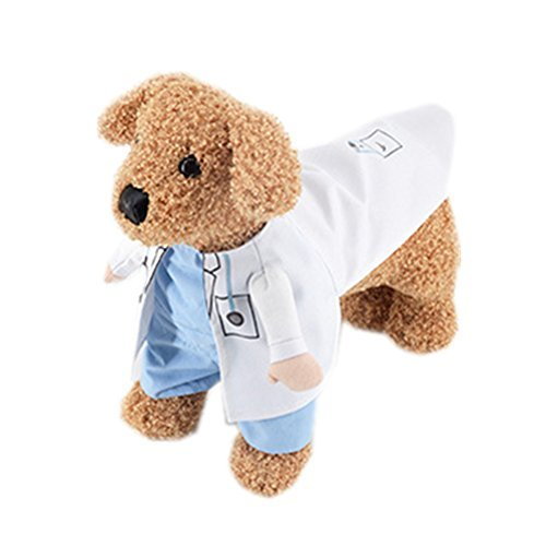 Pet Dog Cat Doctor.X Upright Suit Shirts Halloween Costume Boy Girl Jumpsuit Clothes Funny Coat (Doctor Dog Costume)