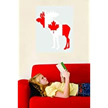 Wall Decal Sale : Canadian Moose Flag Canada Maple Leaf Logo Size: 20 Inches X 30 Inches