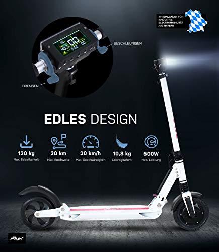 eFlux Lite One Patinete eléctrico de aluminio, 350 W de potencia continua, 500 W de potencia máxima, plegable, 8 pulgadas, 10,8 kilos, 7,8 amperios, ...