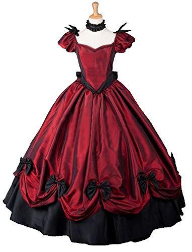 [로리타 의상]  롱 드레스 원피스 레이디스 와인 레드
