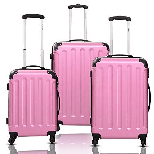 Goplus 3Pcs Luggage Set, Hardside Travel Rolling Suitcase, 20/24/28 Rolling Luggage Upright, Hardshell Spinner Luggage Set with Telescoping Handle, Coded Lock Travel Trolley Case (Pink)