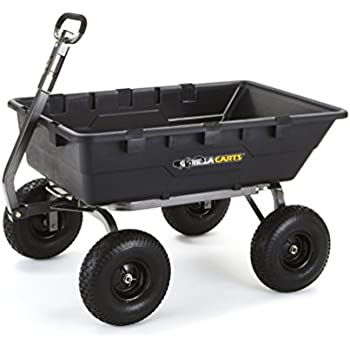 Gorilla Carts Extra Heavy-Duty Poly Dump Cart with 2-in-1 Convertible Handle, 1500-lbs. Capacity, Black
