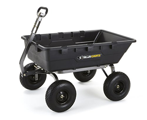 Gorilla Carts GOR10-COM Extra Heavy-Duty Poly Dump Cart with 2-in-1 Convertible Handle, 1500-pound Capacity, Black ()