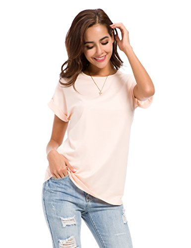 Cotton Armoire (MSHING Women's Simple Crew Neck Plain Loose T-Shirt Summer Casual Tops)