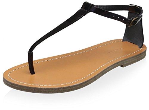 Celine Women's Flat Sandal, Black, 37 M EU/7 M (Celine Leather Heels)