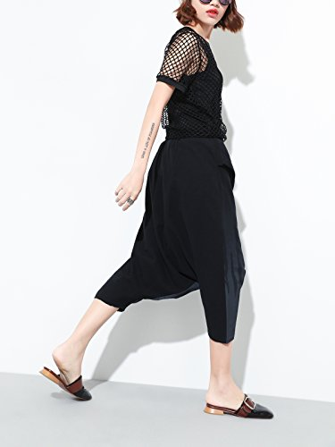 Damen Trend Sommer 3/4 Haremshose Pluderhosen Freizeithose Tie-Dye Gradiente Farbe Niedrige Schritt Streetwear - Schwarz