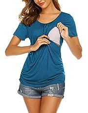 Ekouaer Women's Maternity Nursing Top Breastfeeding Tee Shirt Double Layer Short Sleeve Pregnancy Shirt
