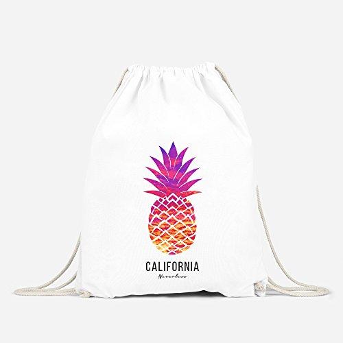 Turnbeutel Ananas Pineapple Hipster Beutel Tasche Jutebeutel Gymsac Stringbag Drawstring Autiga® weiß-sunset