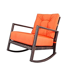 LAHAINA Orange Patio Rocker - All Weather wicker Rocking Lounge Chair W/ Thick Cushion for Outdoor, Porch, Garden, Backyard or Pool