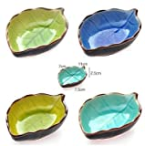 EatingBiting(R)Set of 4 Appetizer Plates Ceramic Leaf Shape Porcelain Saucers Bowl Sauce Dishes Sushi Dinnerware.perfect for serving soy sauce,dipping sauce,veggies, fruits,snacks