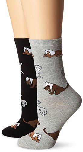 K. Bell Women's 2 Pack Novelty Crew Socks, Cone Dogs,9-11