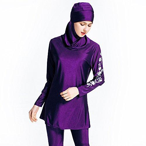 copertura costumi nuoto completa floral Beachwear musulmana donne da da islamico tuta bagno Costume per Swimwear Hijab Purple da Burkini Musulmano costumi bagno bagno pO5nqwU