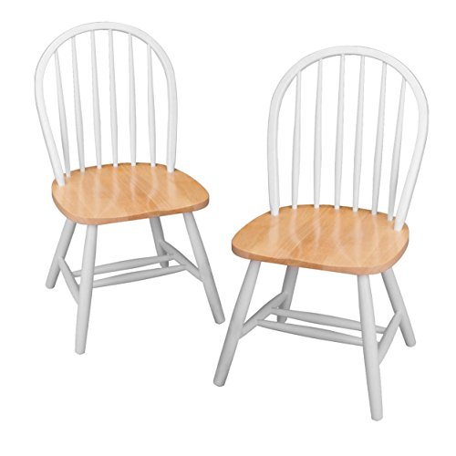 Winsome Wood Windsor Chair In Natural And White Finish Set Of 2