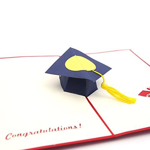 Liif Grad Cap Greeting Card, 3D Graduation Card, Pop Up Card for Congratulations, Grad Announcement, Graduation of 2018 -