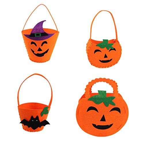 Newsfana Pumpkin Bag,Halloween Candy Bags Children's Nonwovens Pumpkin Bucket -