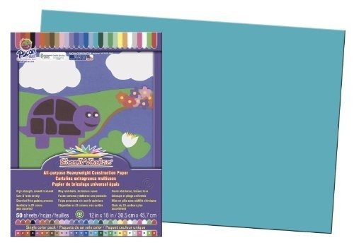 Pacon SunWorks Construction Paper, 12-Inches by 18-Inches, 50-Count, Turquoise (7707) (Paper Construction Turquoise)